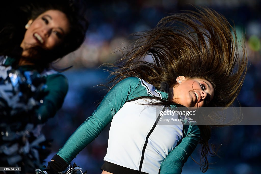 A Philadelphia Eagles cheerleader performs during the fourth quarter against the Dallas Cowboys at Lincoln Financial Field on January 1, 2017 in Philadelphia, Pennsylvania. The Eagles won 27-13.