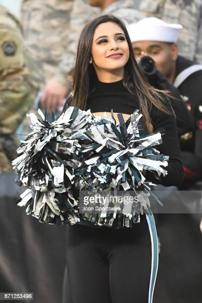 Philadelphia Eagles cheerleader smiles during a NFL football game between the Denver Broncos and the Philadelphia Eagles on November 52017 at Lincoln...