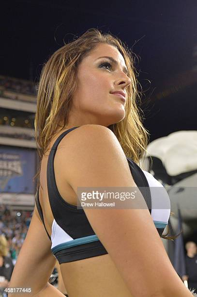 Philadelphia Eagles cheerleader stands on the field before the game against the Kansas City Chiefs at Lincoln Financial Field on September 19 2013 in...
