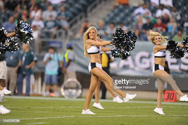 Philadelphia Eagles cheerleaders dance during the game against the New York Jets on September 2 2010 at Lincoln Financial Field in Philadelphia...