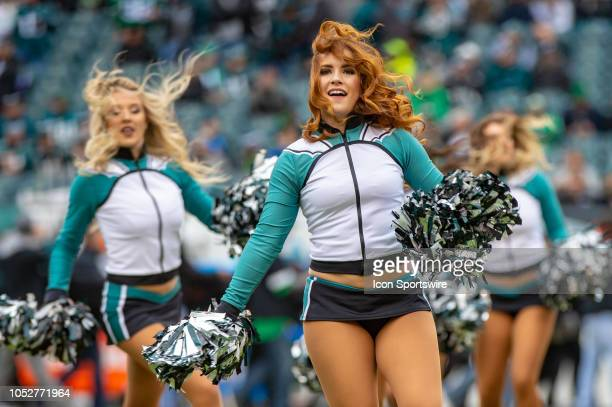 Philadelphia Eagles cheerleaders during the National Football League game between the Carolina Panthers and the Philadelphia Eagles on October 21...