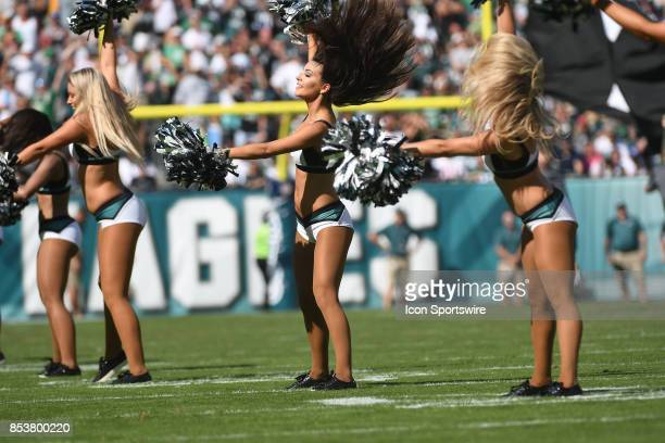 Philadelphia Eagles cheerleaders perform during a NFL football game between the New York Giants and the Philadelphia Eagles on September 24 2017 at...