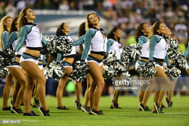 Philadelphia Eagles cheerleaders perform during a NFL football game between the Washington Redskins and the Philadelphia Eagles on October 23 2017 at...