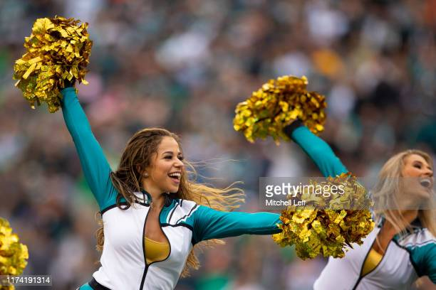 Philadelphia Eagles cheerleaders perform during a timeout in the game between the New York Jets and Philadelphia Eagles at Lincoln Financial Field on...