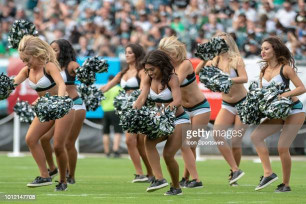 Philadelphia Eagles cheerleaders perform during Eagles Training Camp on August 5 2018 at Lincoln Financial Field in Philadelphia PA