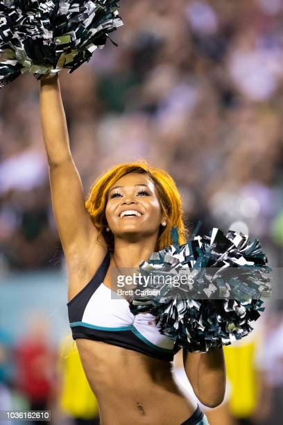 Philadelphia Eagles cheerleaders perform during the game between the Philadelphia Eagles and the Atlanta Falcons at Lincoln Financial Field on...