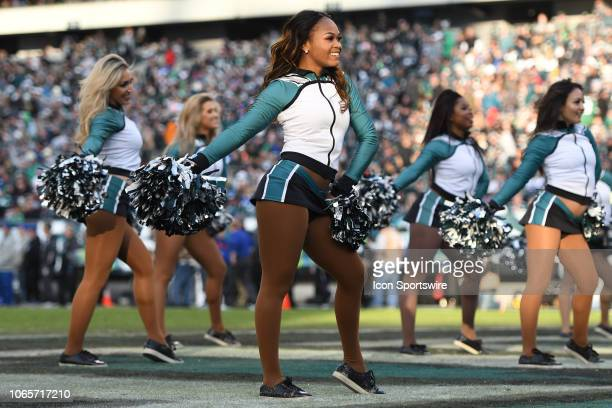 Philadelphia Eagles cheerleaders perform during the New York Giants versus the Philadelphia Eagles game on November 25 at Lincoln Financial Field in...