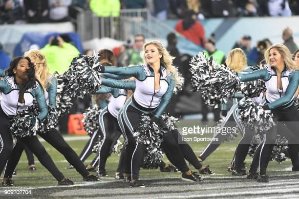 Philadelphia Eagles cheerleaders perform during the NFC Championship game between the Philadelphia Eagles and the Minnesota Vikings on January 21...