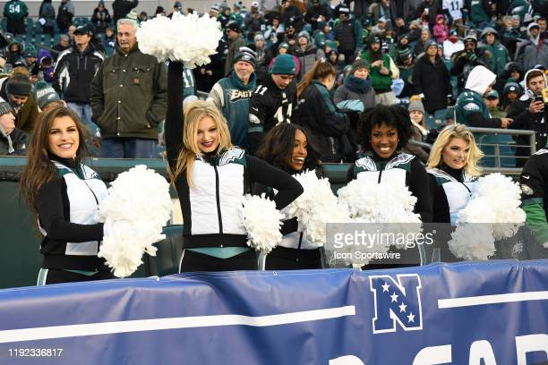 Philadelphia Eagles Cheerleaders perform during the Playoff game between the Seattle Seahawks and the Philadelphia Eagles on January 5 at Lincoln...