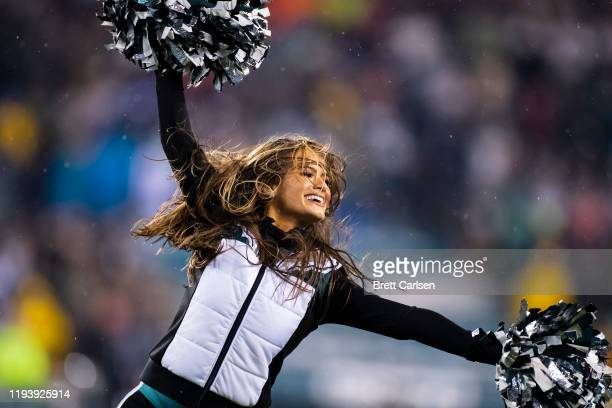 Philadelphia Eagles cheerleaders perform during the third quarter against the New York Giants at Lincoln Financial Field on December 9, 2019 in...