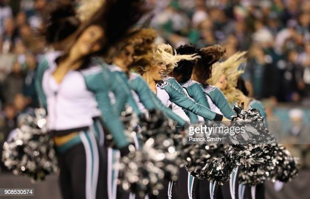 Philadelphia Eagles cheerleaders perform in the NFC Championship game between the Philadelphia Eagles and the Minnesota Vikings at Lincoln Financial...