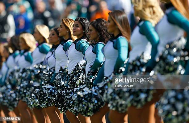Philadelphia Eagles cheerleaders stand on the field prior to the start of the game against the St Louis Rams on October 5 2014 at Lincoln Financial...