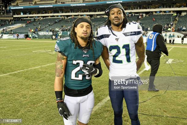 Philadelphia Eagles cornerback Avonte Maddox poses with Seattle Seahawks cornerback Tre Flowers during the Playoff game between the Seattle Seahawks...