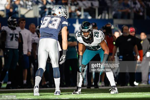 Philadelphia Eagles Cornerback Cary Williams [10327] lines up on Dallas Cowboys Wide Receiver Terrance Williams [19021] during the NFL football game...