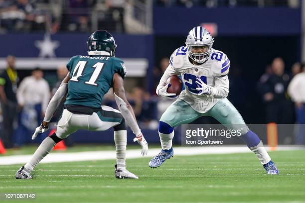 Philadelphia Eagles Cornerback De'Vante Bausby sets to tackle Dallas Cowboys Running Back Ezekiel Elliott during the game between the Philadelphia...