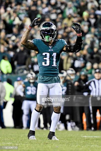 Philadelphia Eagles cornerback Jalen Mills looks on during the Playoff game between the Seattle Seahawks and the Philadelphia Eagles on January 5 at...