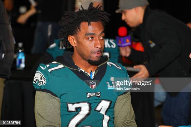 Philadelphia Eagles cornerback Patrick Robinson answers questions during the Philadelphia Eagles Press Conference on January 31 at the Mall of...