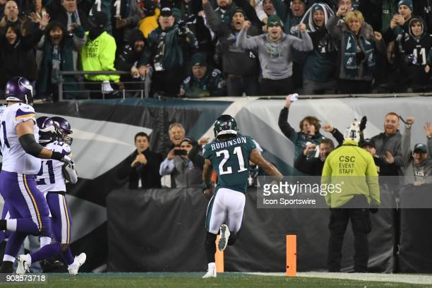 Philadelphia Eagles cornerback Patrick Robinson scores a touchdown after and interception during the NFC Championship game between the Philadelphia...