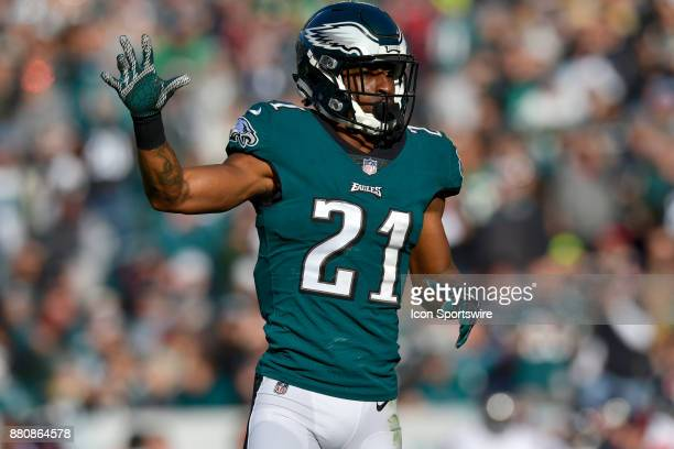 Philadelphia Eagles cornerback Patrick Robinson signals during the NFL game between the Chicago Bears and the Philadelphia Eagles on November 26 2017...