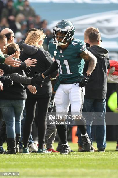Philadelphia Eagles cornerback Ronald Darby shakes hands with fans during a NFL football game between the Chicago Bears and the Philadelphia Eagles...