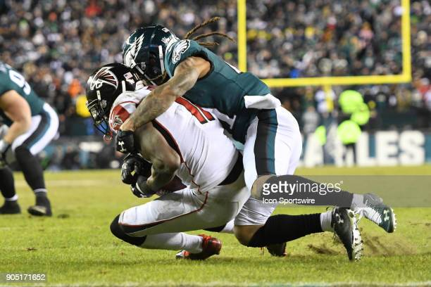 Philadelphia Eagles cornerback Ronald Darby tackles Atlanta Falcons wide receiver Julio Jones on the two yard line during the NFC Divisional Playoff...