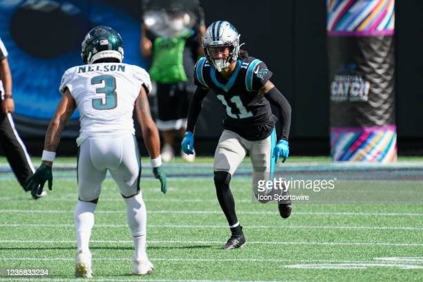 Philadelphia Eagles cornerback Steven Nelson guards Carolina Panthers wide receiver Robby Anderson during the game between the Carolina Panthers and...
