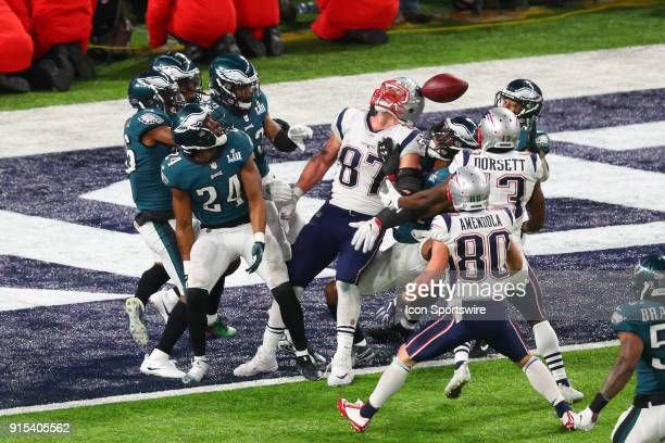 Philadelphia Eagles defend New England Patriots tight end Rob Gronkowski on the last play of the game during the fourth quarter of Super Bowl LII on...