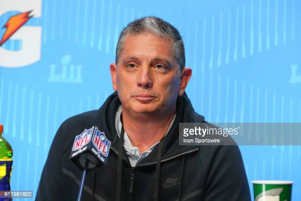 Philadelphia Eagles defensive coordinator Jim Schwartz answers questions during Super Bowl LII Opening Night on January 29 2018 at the Xcel Energy...