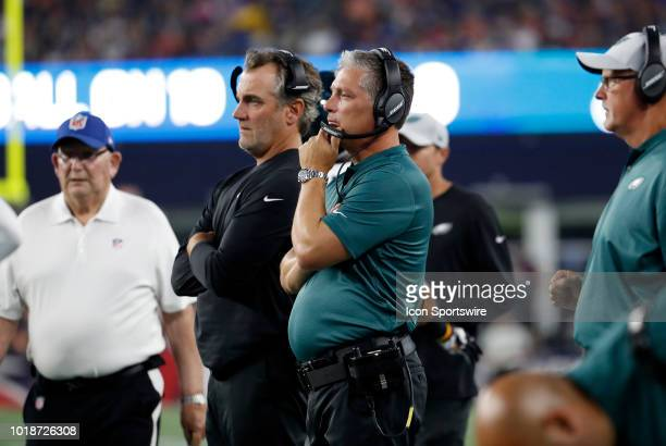 Philadelphia Eagles defensive coordinator Jim Schwartz during a preseason NFL game between the New England Patriots and the Philadelphia Eagles on...