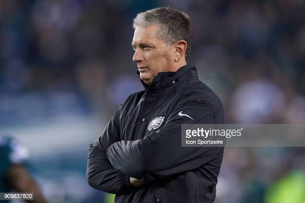 Philadelphia Eagles Defensive Coordinator Jim Schwartz looks on prior to the start of the NFC Championship Game between the Minnesota Vikings and the...