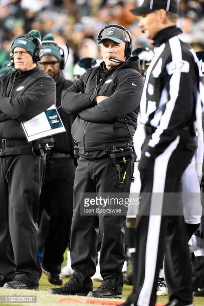 Philadelphia Eagles defensive coordinator Jim Schwartz looks on during the Playoff game between the Seattle Seahawks and the Philadelphia Eagles on...