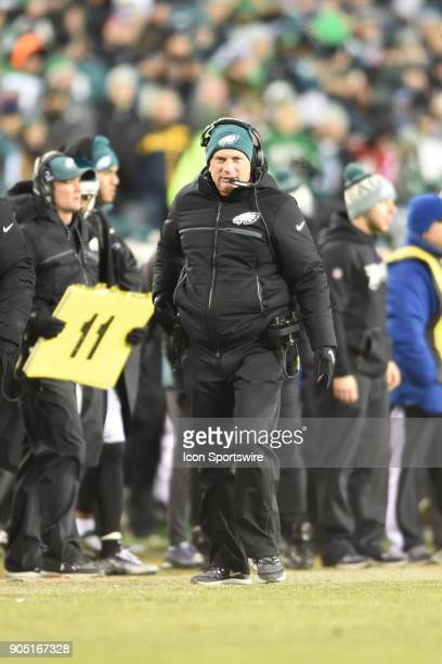 Philadelphia Eagles defensive coordinator Jim Schwartz looks on during the NFC Divisional Playoff game between the Philadelphia Eagles and the...