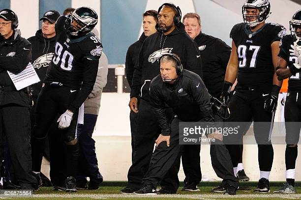 Philadelphia Eagles Defensive Coordinator Jim Schwartz watches from the sideline against the Green Bay Packers during the fourth quarter at Lincoln...