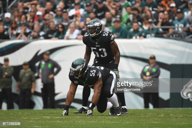 Philadelphia Eagles defensive end Brandon Graham and Philadelphia Eagles outside linebacker Nigel Bradham set up to rush during a NFL football game...