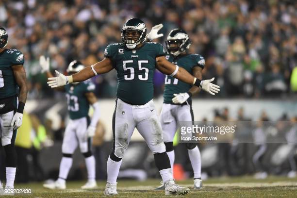 Philadelphia Eagles defensive end Brandon Graham reacts to the fans during the NFC Championship game between the Philadelphia Eagles and the...