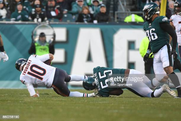 Philadelphia Eagles defensive end Brandon Graham sacks Chicago Bears quarterback Mitchell Trubisky during a NFL football game between the Chicago...
