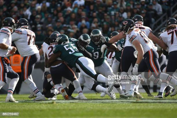 Philadelphia Eagles defensive end Brandon Graham tackles Chicago Bears running back Jordan Howard for a loss during a NFL football game between the...