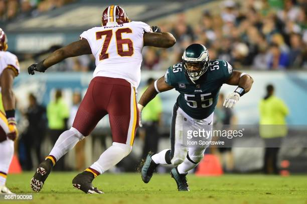 Philadelphia Eagles defensive end Brandon Graham trys to get around Washington Redskins offensive tackle Morgan Moses during a NFL football game...