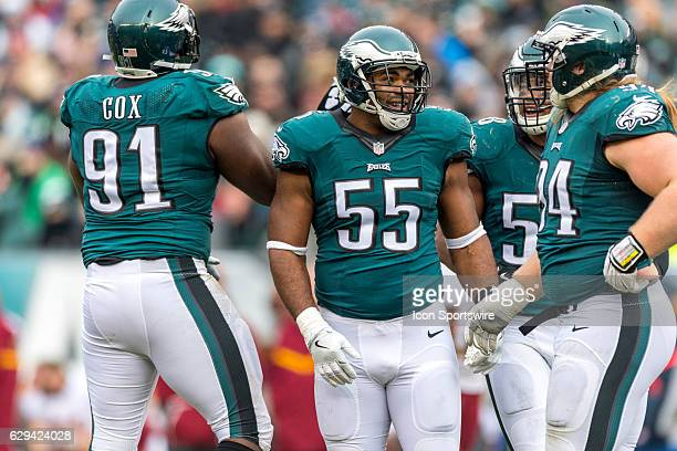 Philadelphia Eagles defensive end Brandon Graham waits for play to resume with Philadelphia Eagles defensive tackle Fletcher Cox Philadelphia Eagles...