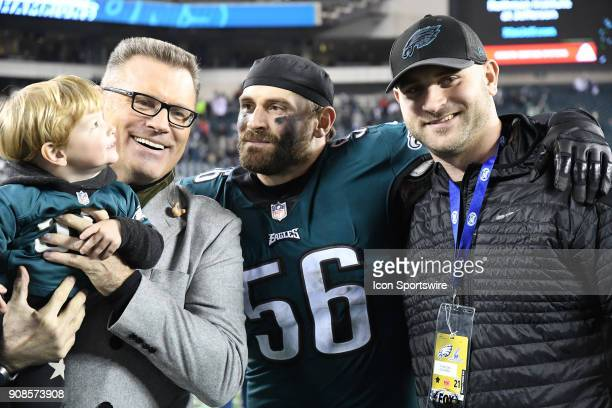 Philadelphia Eagles defensive end Chris Long poses with his father Howie Long and brother Kyle Long during the NFC Championship game between the...