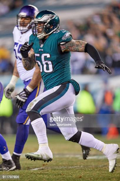 Philadelphia Eagles defensive end Chris Long runs after the football during the NFC Championship Game between the Minnesota Vikings and the...