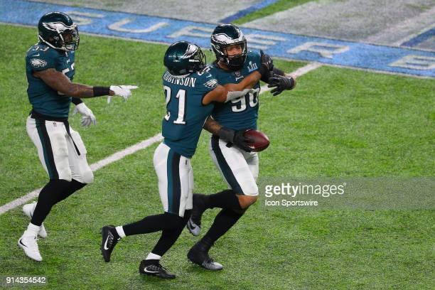 Philadelphia Eagles defensive end Derek Barnett celebrates with teammate Philadelphia Eagles cornerback Patrick Robinson after recovering a fumble...