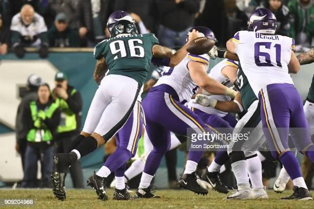 Philadelphia Eagles defensive end Derek Barnett forces a fumble during the NFC Championship game between the Philadelphia Eagles and the Minnesota...