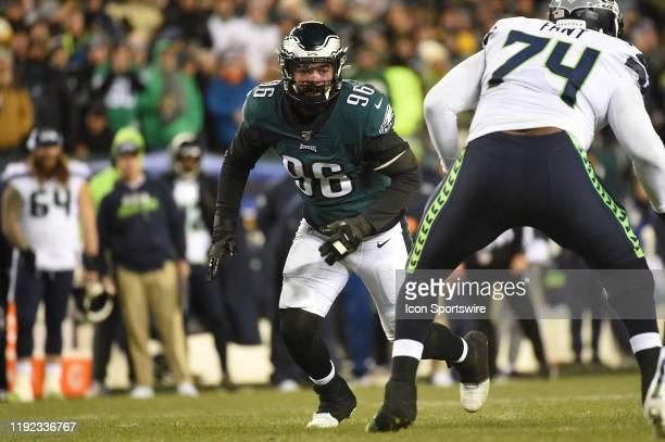Philadelphia Eagles defensive end Derek Barnett prepares to rush during the Playoff game between the Seattle Seahawks and the Philadelphia Eagles on...