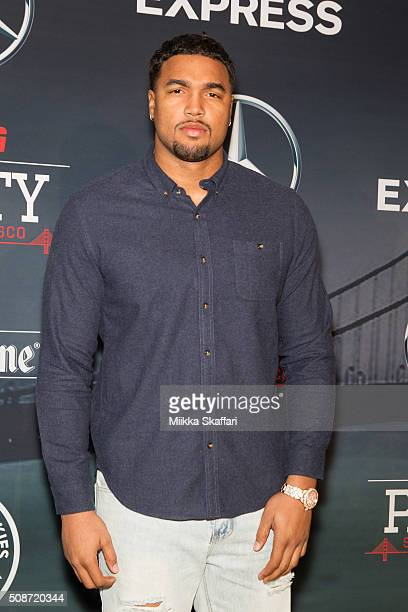 Philadelphia Eagles defensive end Marcus Smith arrives at the annual ESPN The Party at Fort Mason Center on February 5 2016 in San Francisco...