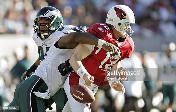 Philadelphia Eagles defensive end ND Kalu sack Arizona Cardinals quarterback Josh McCown causing a fumble Thursday December 22 2005 at Sun Devil...