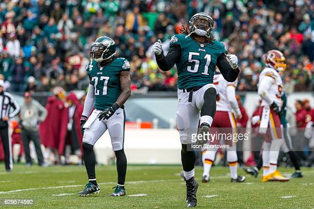 Philadelphia Eagles defensive end Steven Means does his happy dance at the missed extra point attempt during the game between the Washington Redskins...
