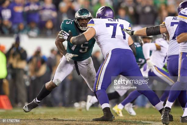 Philadelphia Eagles defensive end Vinny Curry battles with Minnesota Vikings offensive tackle Riley Reiff during the NFC Championship Game between...