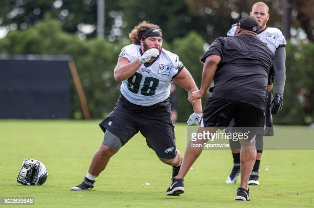 Philadelphia Eagles defensive tackle Elijah Qualls during pass rush drills during Eagles Training Camp at The Novacare Complex in Philadelphia PA