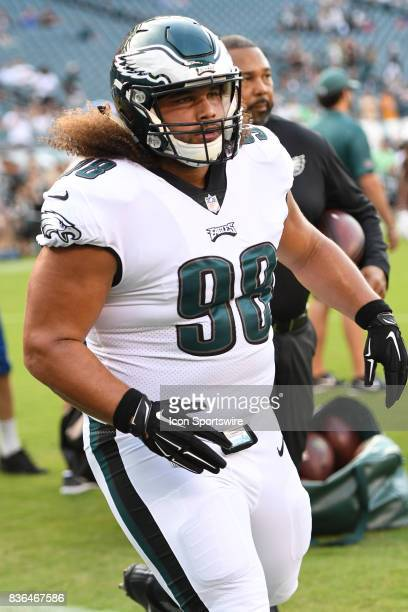 Philadelphia Eagles defensive tackle Elijah Qualls warms up during a NFL preseason game between the Buffalo Bills and the Philadelphia Eagles on...